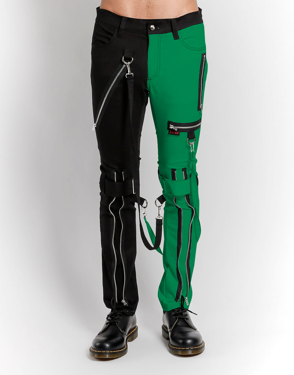 Tripp NYC Men's Split Leg Bondage Pants - Black/Green