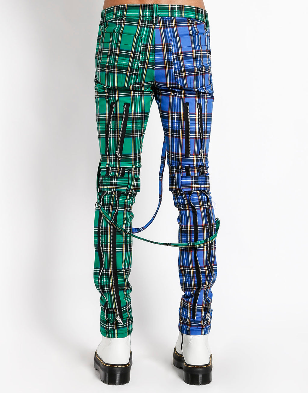 Tripp NYC Men's Split Leg Plaid Bondage Pants