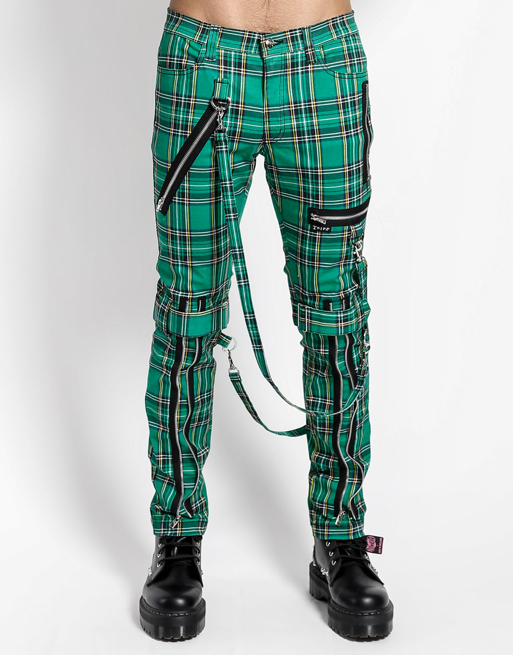Tripp NYC Men's Plaid Bondage Pants - Green