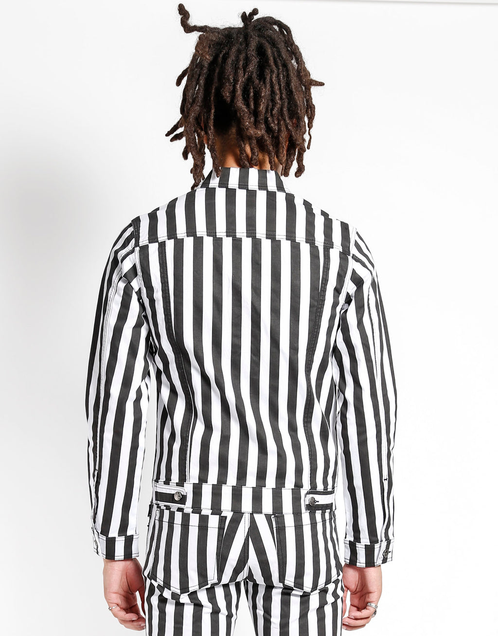 Tripp NYC Men's Medium Stripe Trucker Jacket