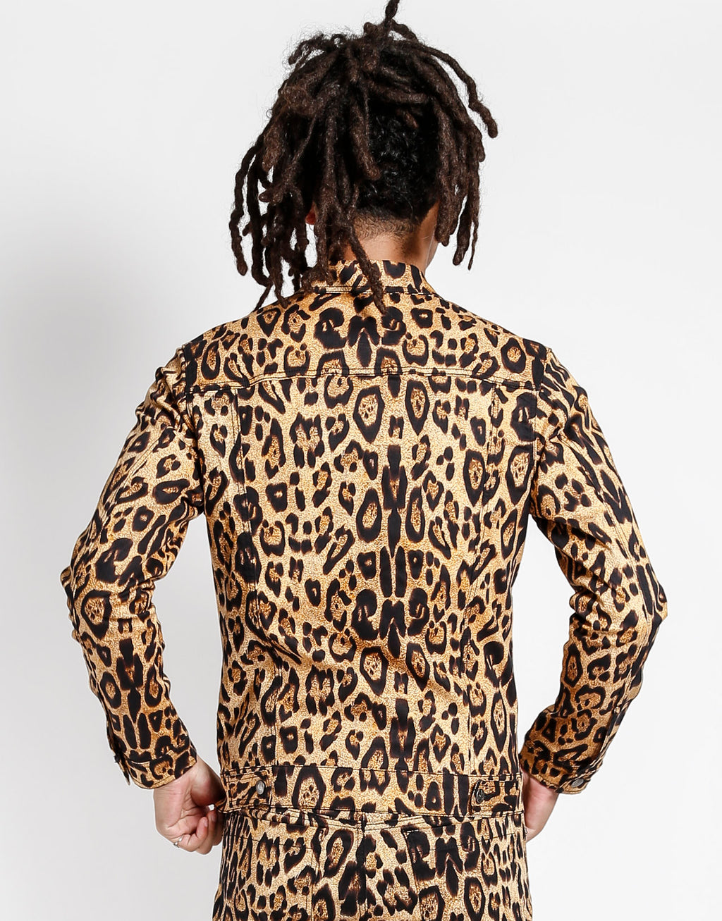 Tripp NYC Men's Leopard Trucker Jacket