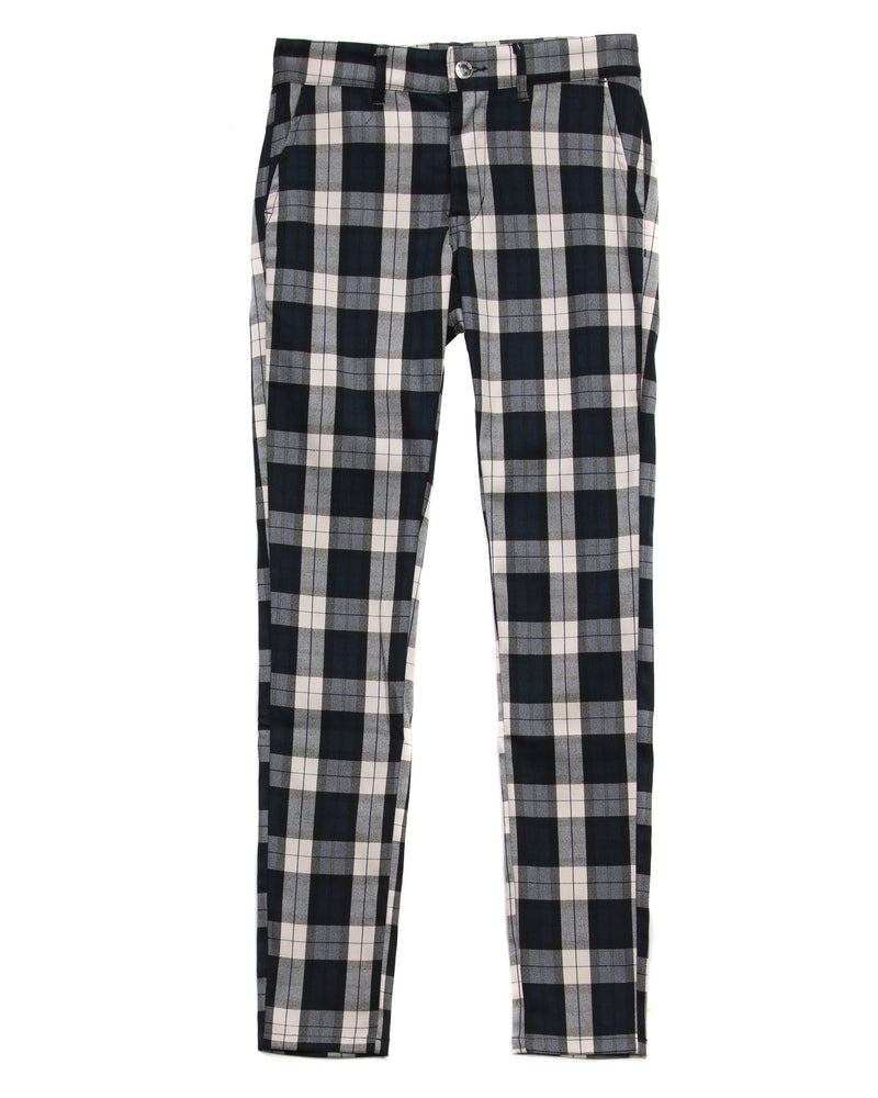Trinity Kays Kulture Beira Plaid Pants in Navy/White