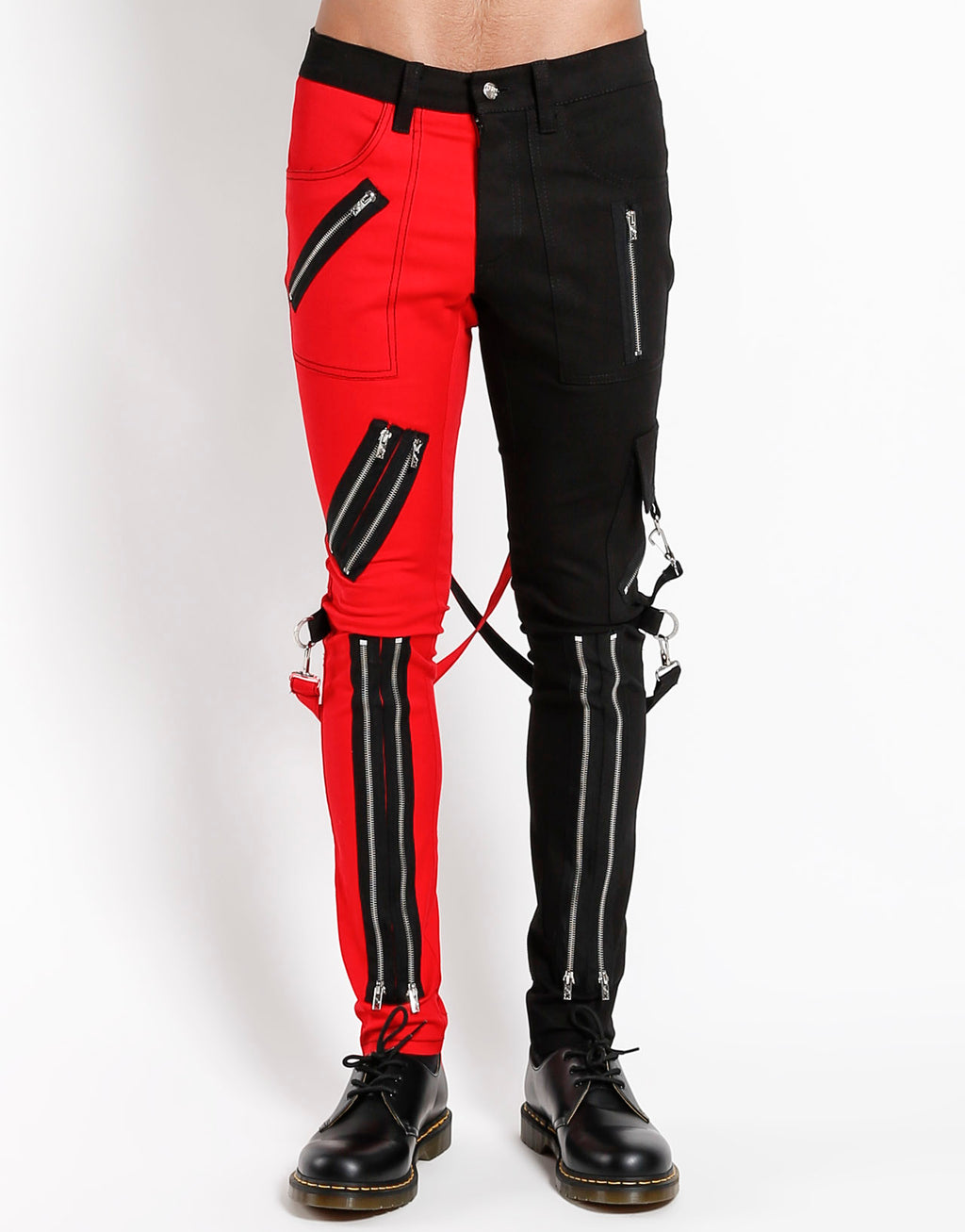 Tripp NYC Men's Split Leg Bondage Pants - Black/Red