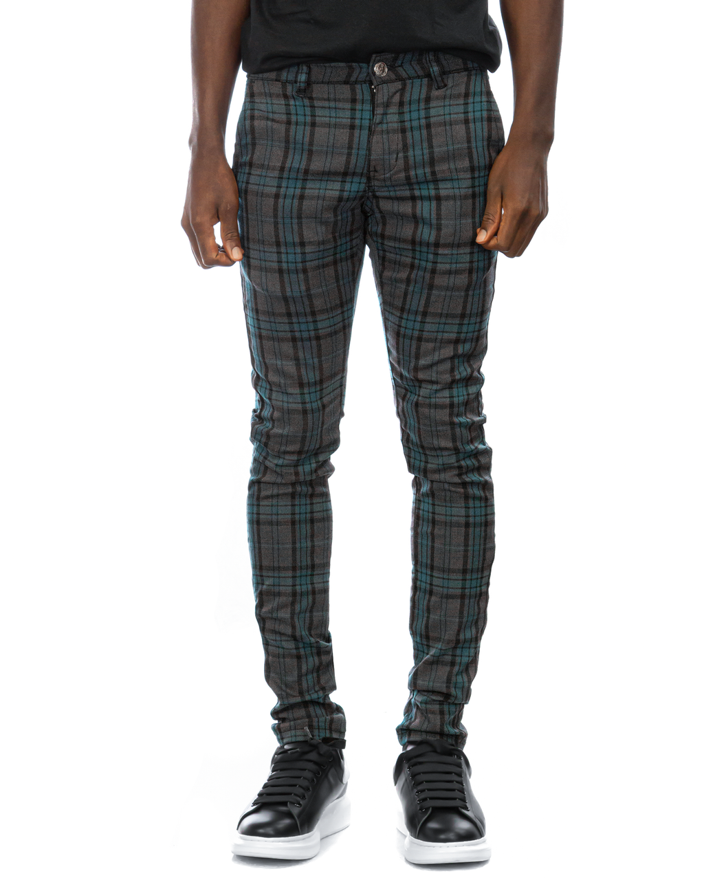 Trinity Kays Kulture Brixton Plaid Pants in Charcoal - Blue