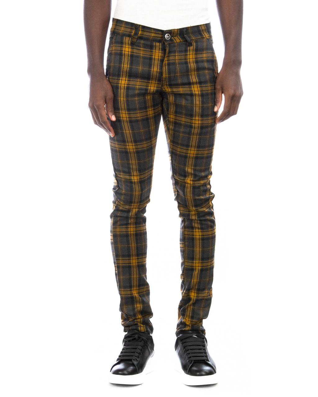 Trinity Kays Kulture Brixton Plaid Pants in Charcoal - Yellow