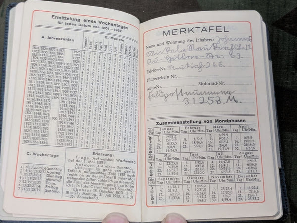 1938 Calendar / Day Planner with Feldpost Nr.