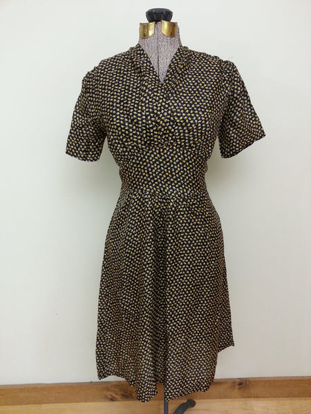 Vintage German 1930s 1940s Artificial Silk Dress