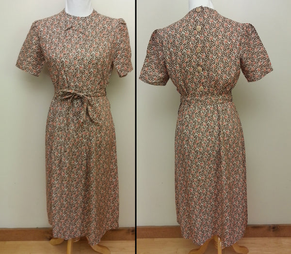 1930s / 1940s Vintage German Orange/Brown Dress - Buttons in the Back