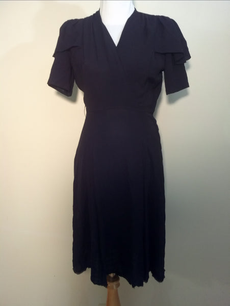 1930s / 1940s vintage black crepe rayon dress