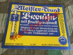 Original WWII German 1941 Meister Trunk Brause Bottle Label
