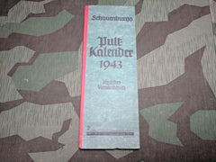 WWII German 1943 Pult Kalendar Calendar (w/ Train and Post Info)