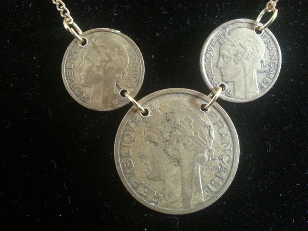 French Franc Centime Coin Necklace