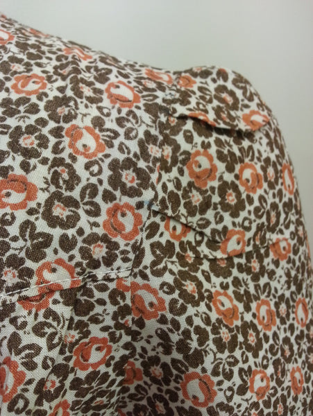 "German Orange/Brown Dress - Buttons in the Back <br> (B-40"" W-33"" H-39"")"