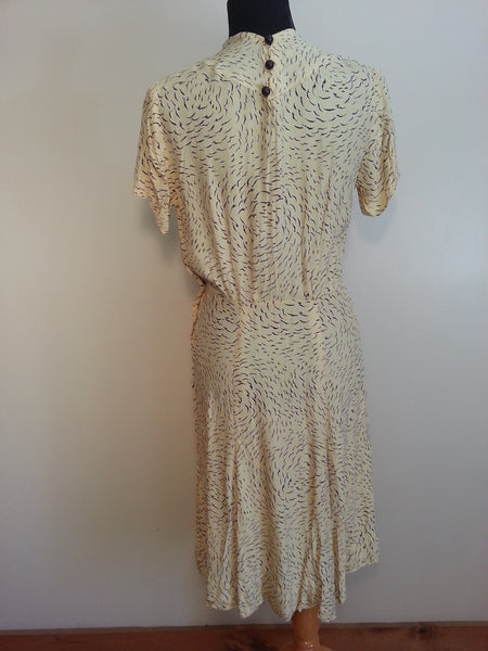 "Pale Yellow Button Dress <br> (38""-28""-35 1/2"")"