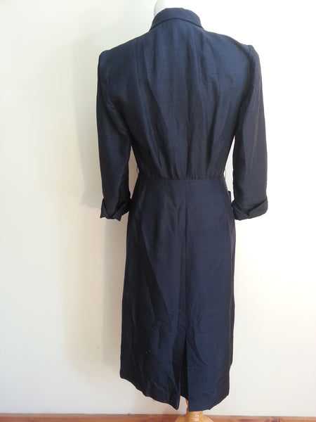 "Navy Blue Button Down Dress w/ Accents <br> (B-38"" W-28 1/4"" H-37"")"