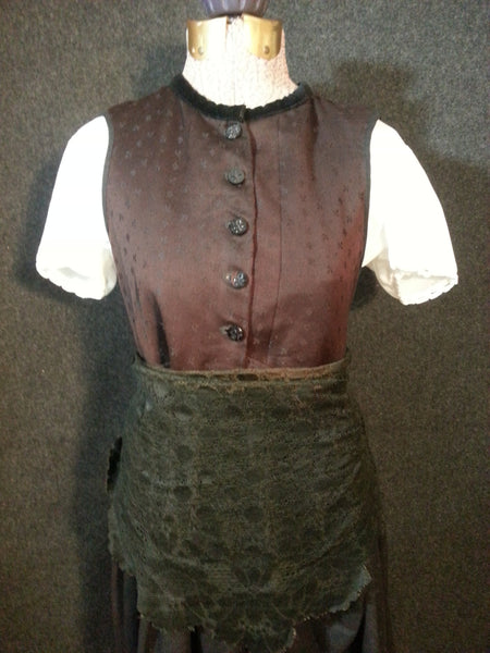 "Pre-WWII German Dirndl w/ Painted Skirt <br> (B-32 1/2"" W-32""--)"