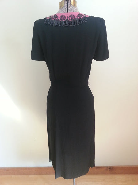 "Rayon Dress with Beading <br> (B-37"" W-26"" H-35"")"