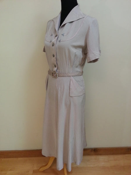 "Gray Striped Dress <br> (B-42"" W-31"" H-38"")"