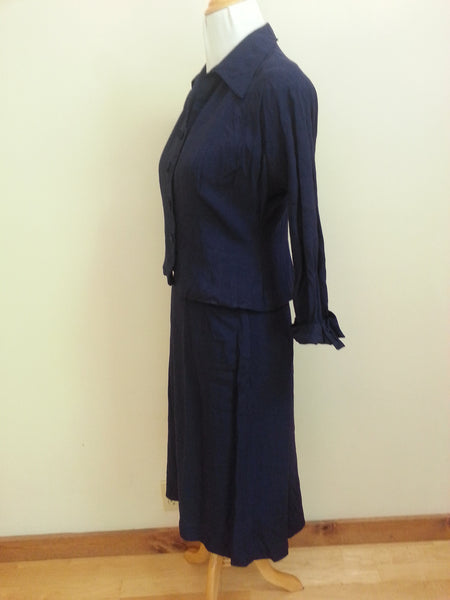 "Navy Blue Skirt Suit <br> (B-38"" W-30"" H-39"")"