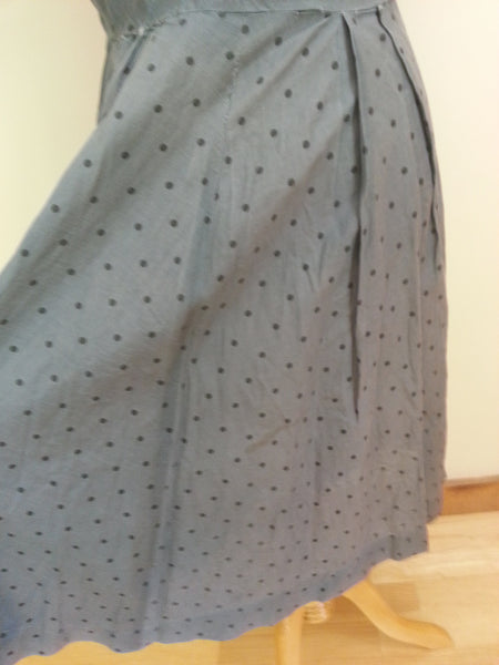 "Slate Blue Polka Dot Dress <br> (B-44"" W-35"" H-46"")"