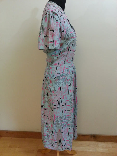 "Light Blue Print Dress <br> (B-44"" W-34"" H-46"")"