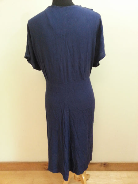 "Blue Button Down Dress (as-is) <br> (B-49"" W-39"" H-48"")"