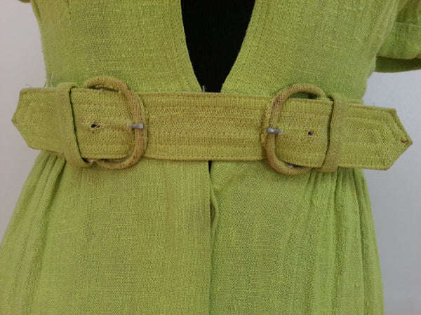 "Green Dress with Belt <br> (B-34"" W-24"" H-32"")"