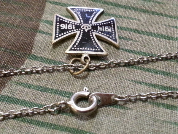 WWI Enamel Iron Cross Sweetheart Necklace