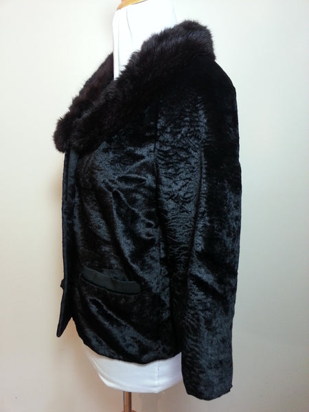 "Black Coat with Mink Collar <br> (B-38"" W-39"")"