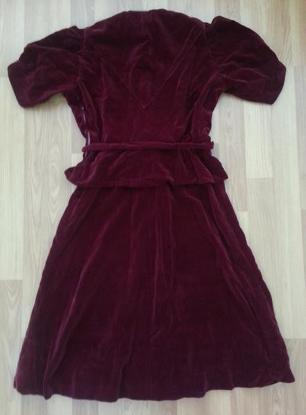 "German Red Velvet Peplum Dress <br> (B-36"" W-26""-28"" H- 34 1/2"")"