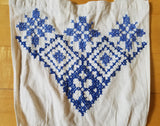 German Apron with Blue Needlework Designs