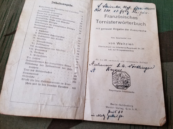 Tornister Wörterbuch German-French Dictionary