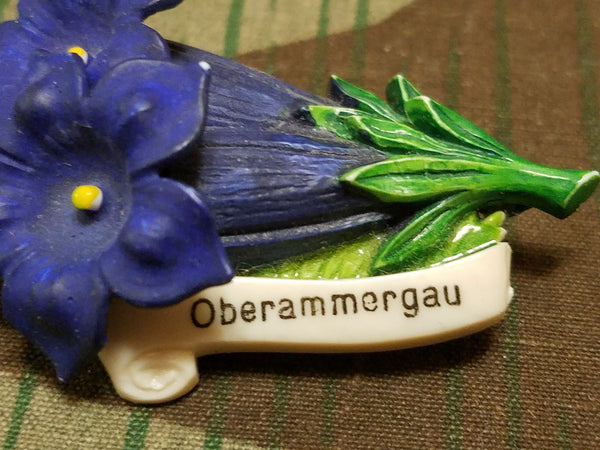 Oberammergau Enzian Flower Pin and Earring Set (Signals/Gebirgs Kaserne)