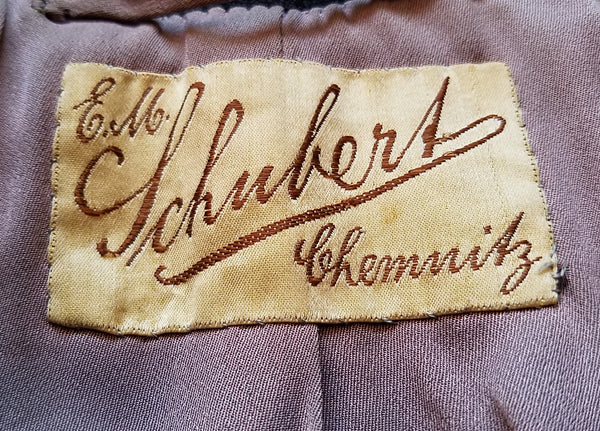 "German Black Jacket with ""E.M. Schubert Chemnitz"" Label <br> (B-43"" W-39"")"