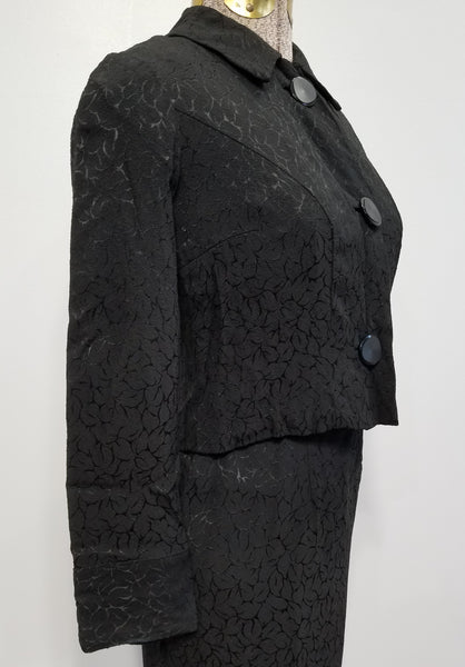 "German 3-Piece Outfit: Black Dress, Jacket and Belt<br> (B-32"" W-25"" W-31"")"