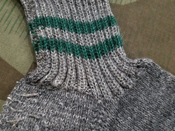 German? Gray Socks with Green Stripes