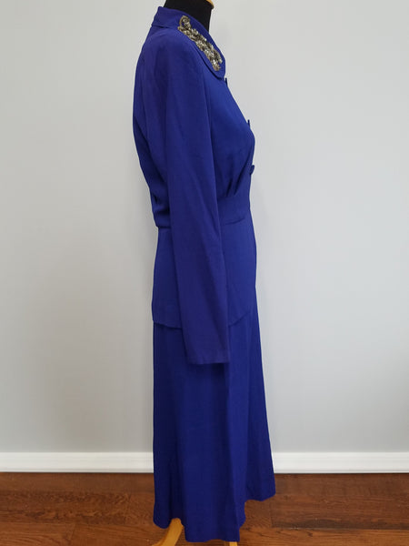 "Bright Blue/Purple Skirt Suit (as-is) <br> (B-36"" W-27"" H-38"")"