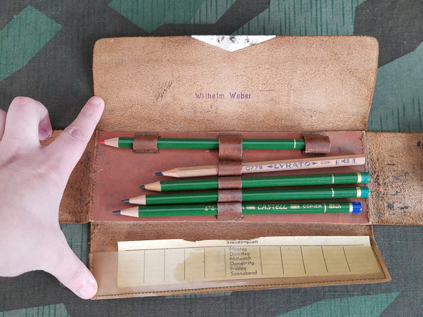 Brown Leather Pencil Case with 5 Colored Pencils