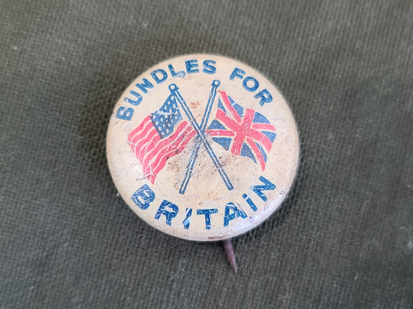 Vintage WWII Bundles for Britain Button Pin