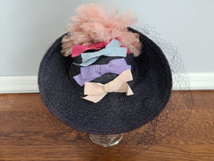 Straw Tilt Hat with Bows and Feathers