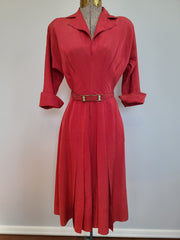 "Red Long Sleeve Dress (as-is) <br> (B-35"" W-25"" H-38"")"
