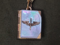 Vintage WWII 1940s Army Air Corps Book-Shaped Locket Necklace