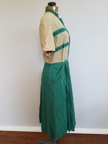 "Tan and Green Dress <br> (B-40"" W-28.5"" H-40"")"