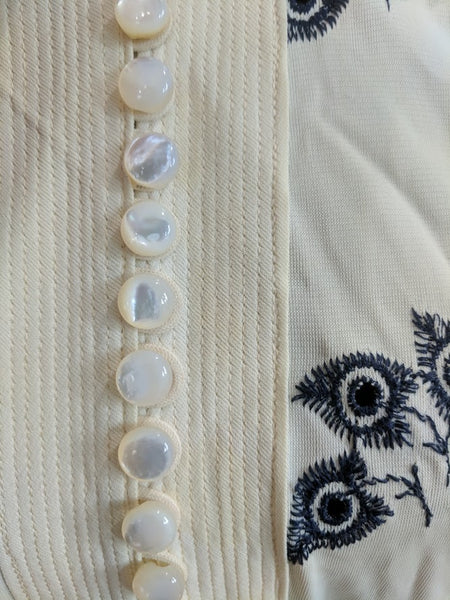 "White Button Down Dress with Blue Embroidery <br> (B-40"" W-31"" H-41"")"