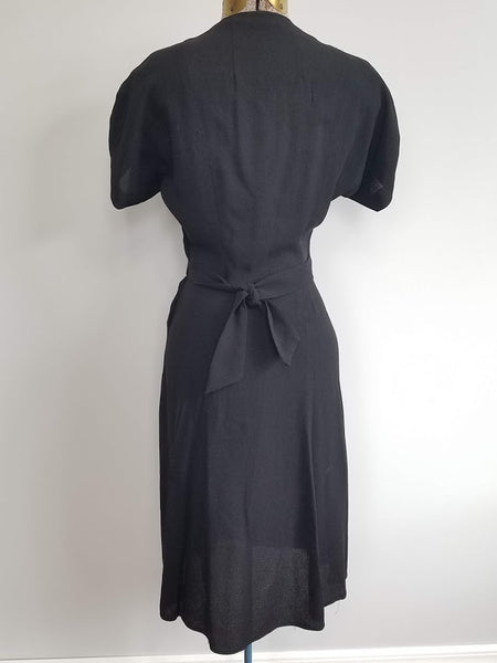 "Black Rayon Dress with Army Eagle Button <br> (B-33"" W-24"" H-33"")"
