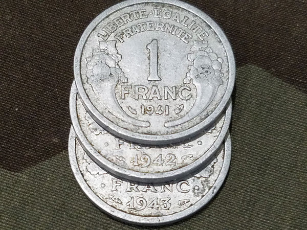 Mid War French Francs Coins (Set of 9) 1941/1943/1943