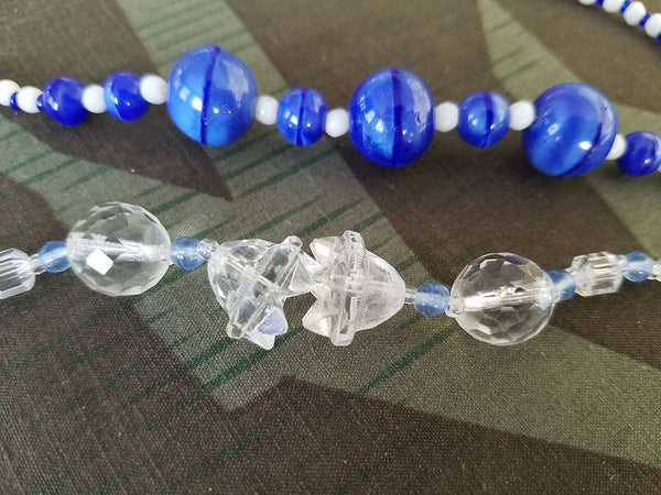 German Blue Glass Bead Necklaces