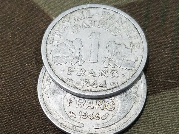 Late War French Francs Coins (Set of 4) 1944/1945