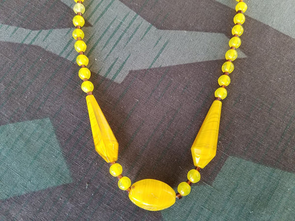 German Yellow Glass Bead Necklace