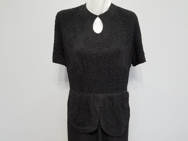 "Black Rayon Beaded Dress AS-IS <br> (B-40"" W-33"" H-39"")"